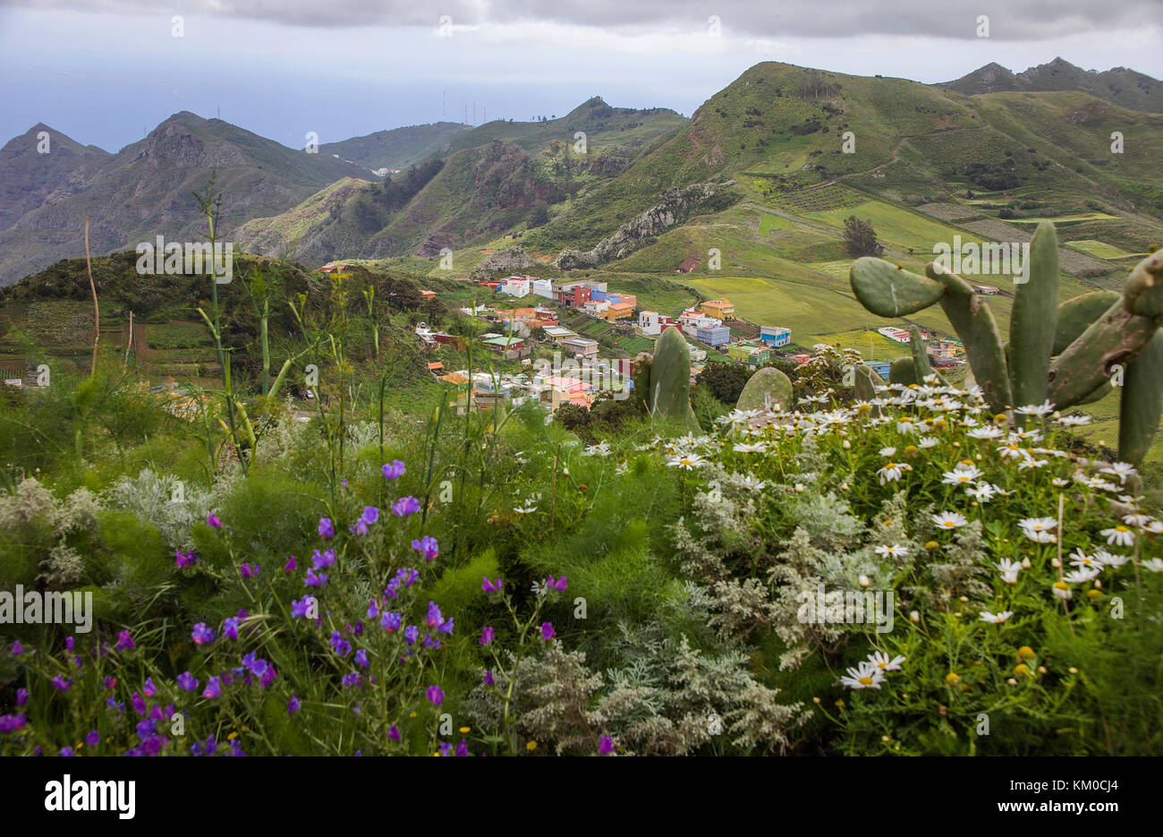 The village Vega de Las Mercedes, view from view point Mirador de las Mercedes at Anaga-Gebirge, Tenerife island, Stock Photo