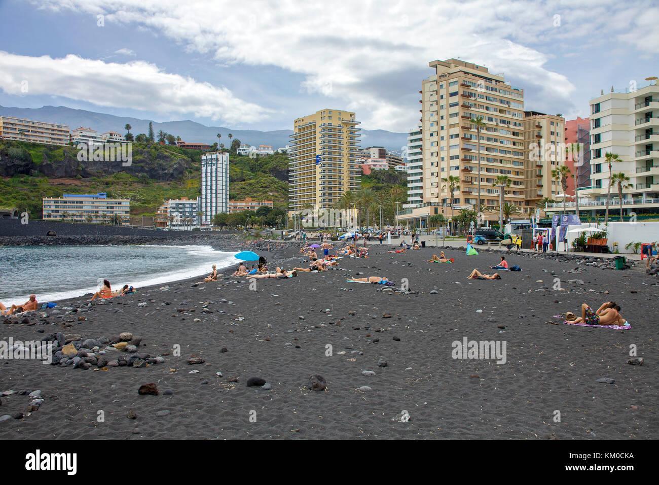 Beach of Puerto de la Cruz, north side of Tenerife island, Canary islands, Spain - Stock Image
