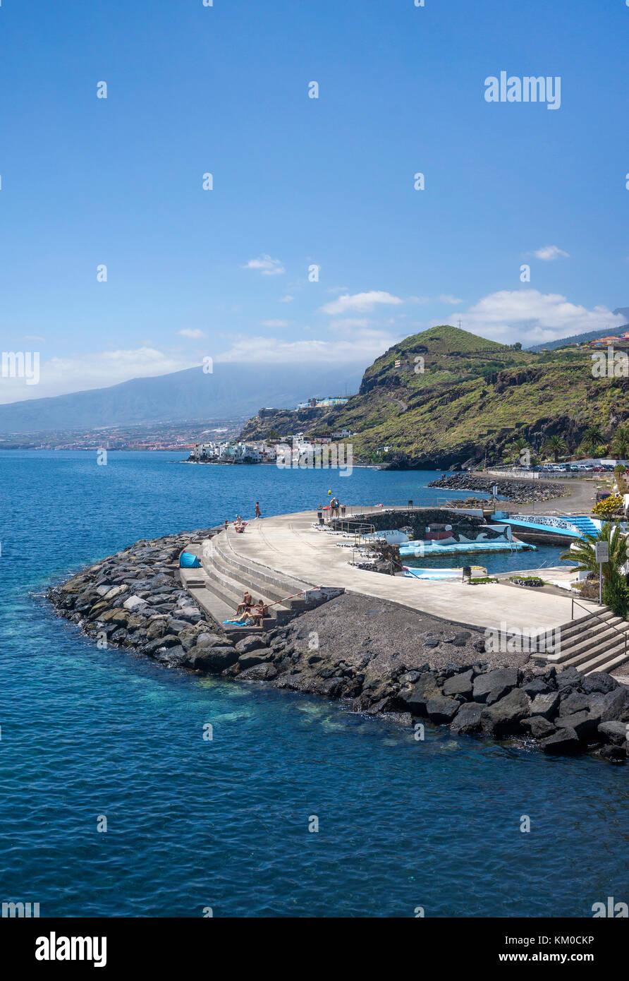 Natural seawater pool at apartment complex, Tabaiba, north-east of Tenerife island, Canary islands, Spain - Stock Image