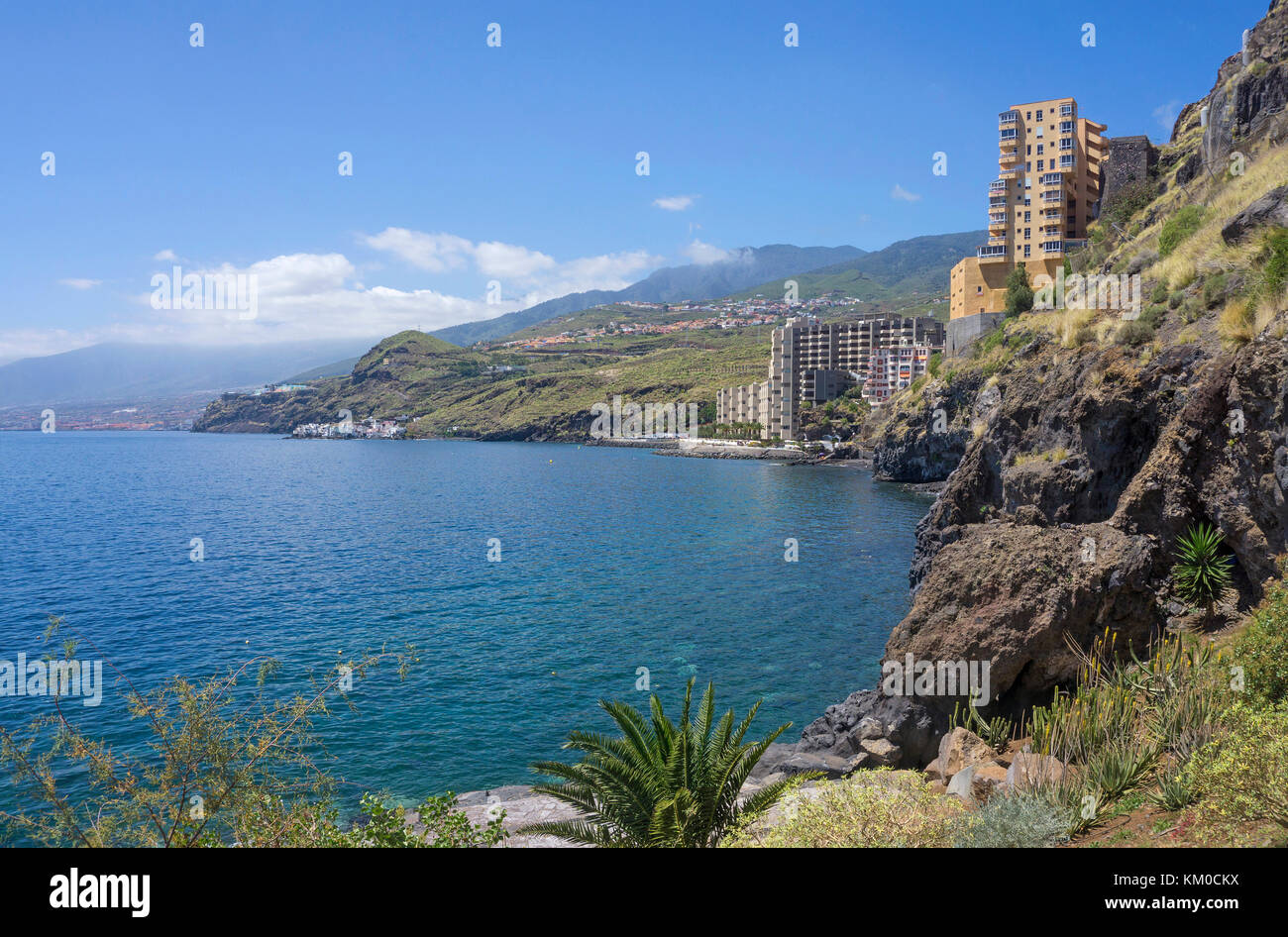 Appartment complex at the coat, Tabaiba, Tenerife island, Canary islands, Spain - Stock Image