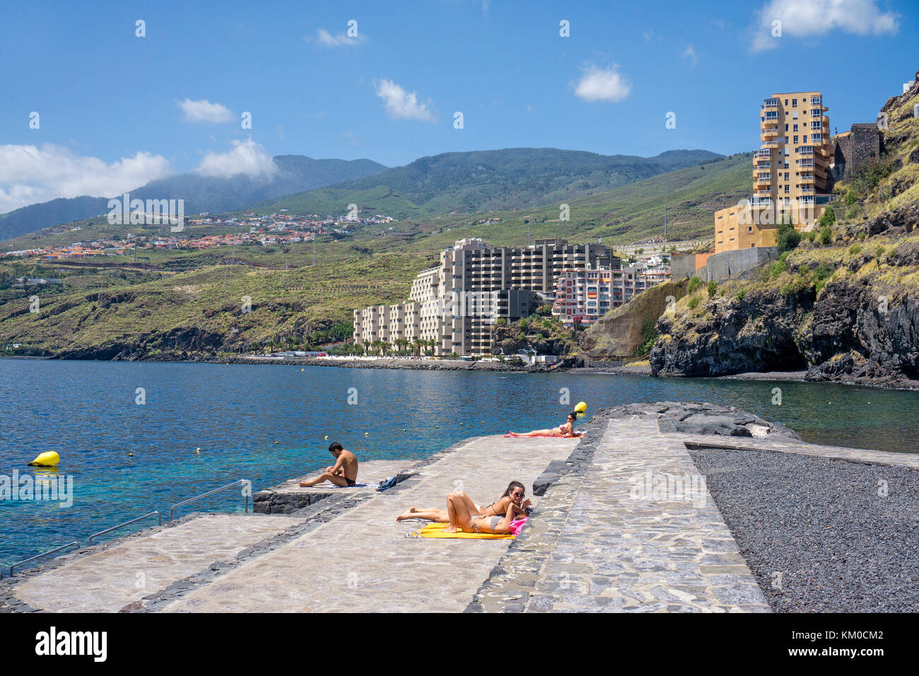 Artificial beach at Radazul, behind a appartment complex of Tabaiba, south-east coast of Tenerife island, Canary - Stock Image