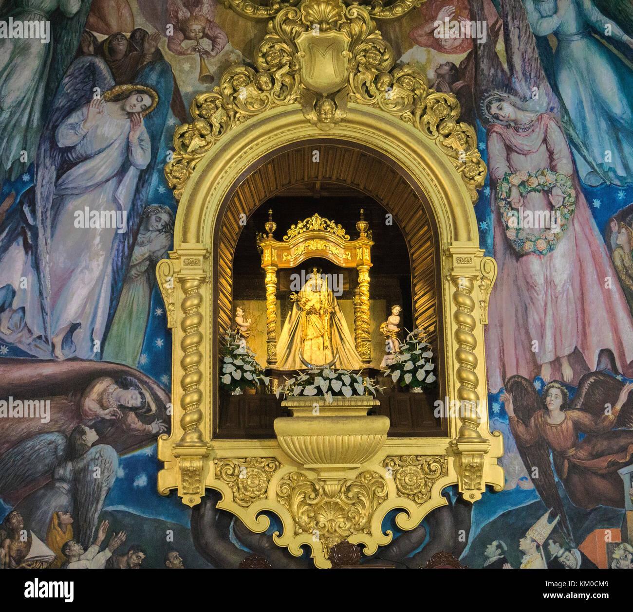 Virgin Maria, patron saint of Canary islands inside of Basilica de Nuestra Senora de Candelaria, Pilgrimage church - Stock Image
