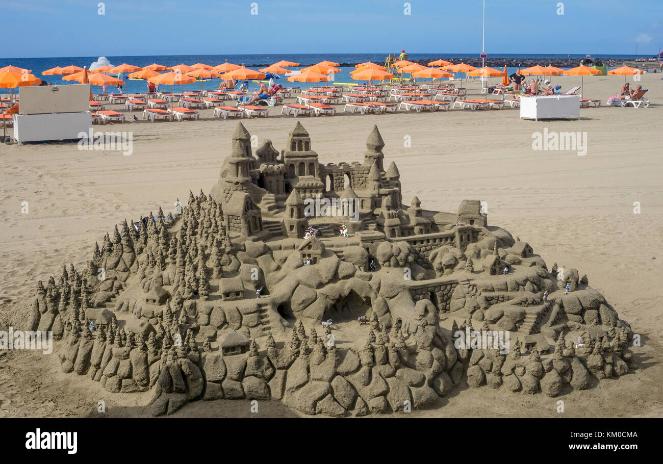 Sandcastle at the beach of Los Christianos,Tenerife island, Canary islands, Spain - Stock Image