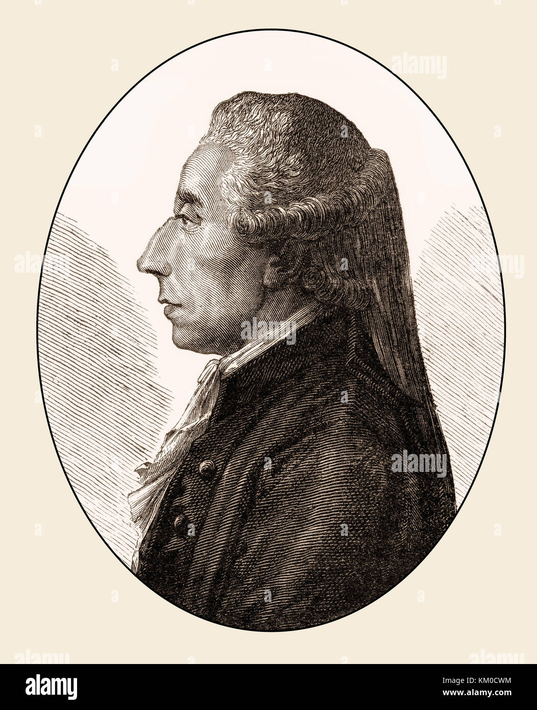 Jean Sylvain Bailly, 1736 – 1793, a French astronomer, mathematician, political leader of the French Revolution - Stock Image