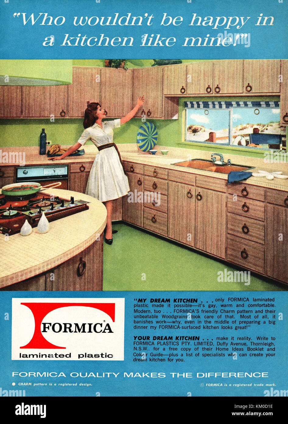 A 1963 advert for a Formica woodgrain finish laminated plastic fitted kitchen. It appeared in an Australian magazine. - Stock Image