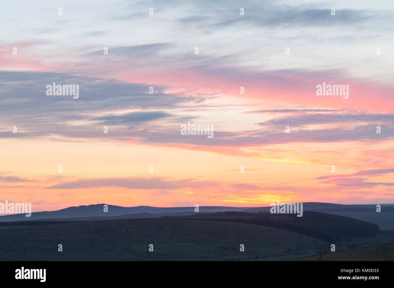 Sunset on Bodmin Moor - Stock Image
