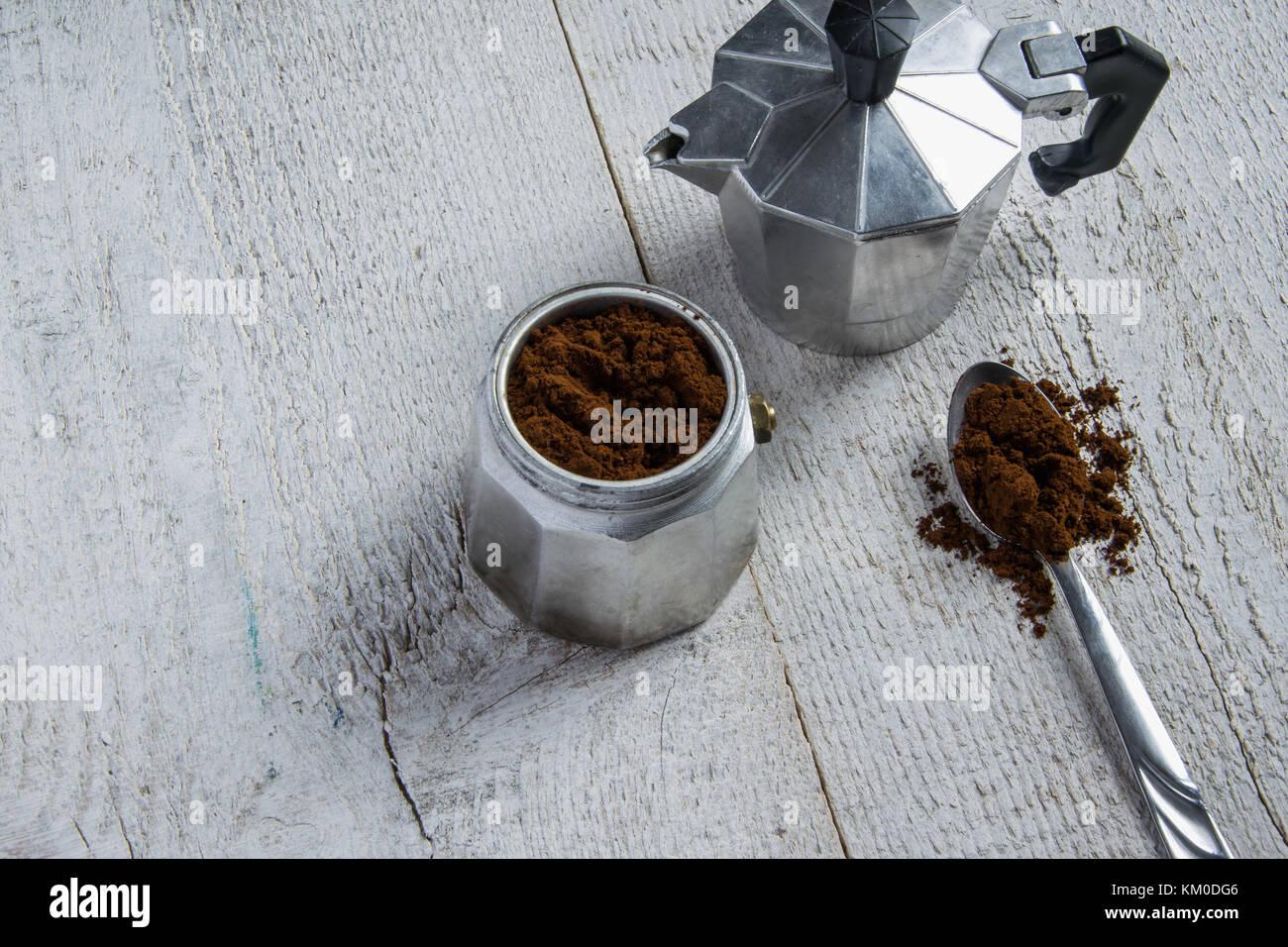 Preparing the coffee in a moka - italian coffee maker - Stock Image