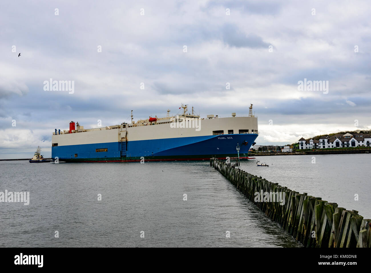Vehicle Carrier Pearl Ace entering the Tyne - Stock Image