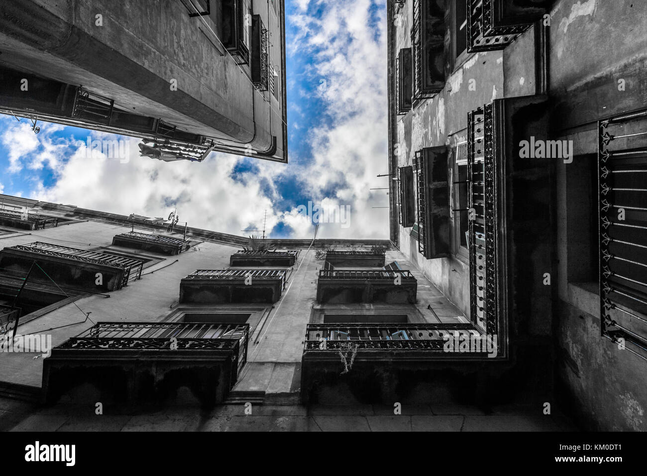 blue sky between buildings in Barcelona, Spain. - Stock Image