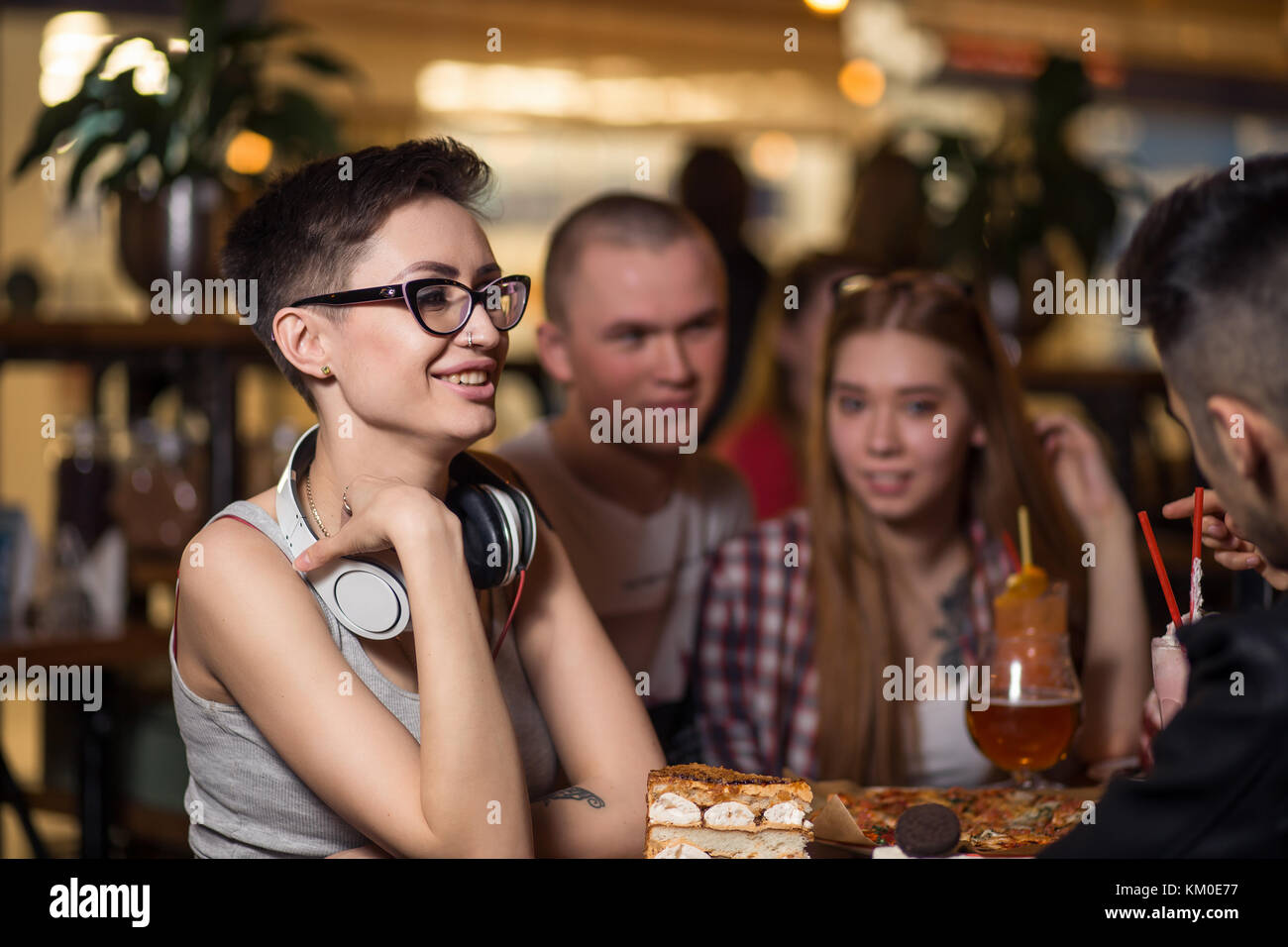 People Drinking Coffee in cafe Concept - Stock Image