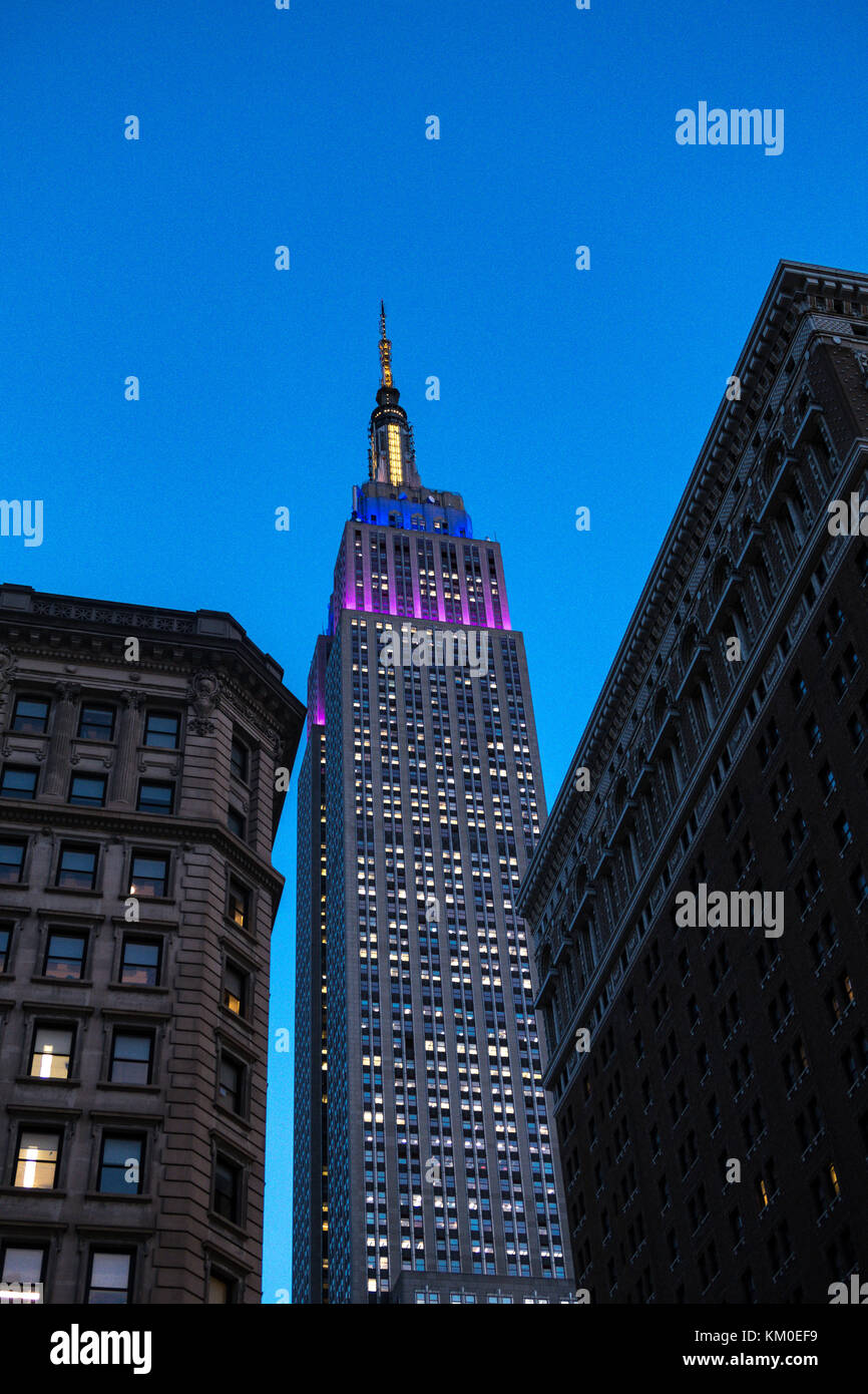Empire State Building at Night, NYC USA - Stock Image