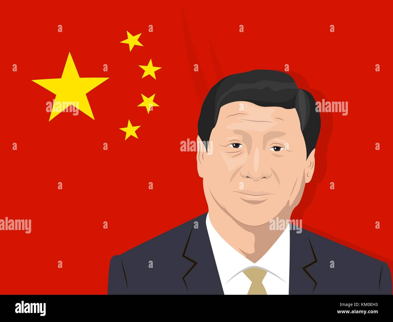 02.12.2017 Editorial illustration of Xi Jinping- the General Secretary of the Communist Party of China, the President - Stock Vector