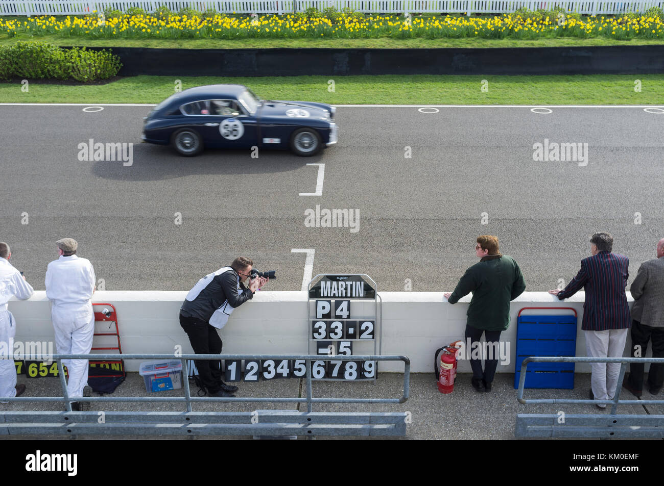 Finish line Goodwood Revival motor racing event, photograph and pit crew Stock Photo