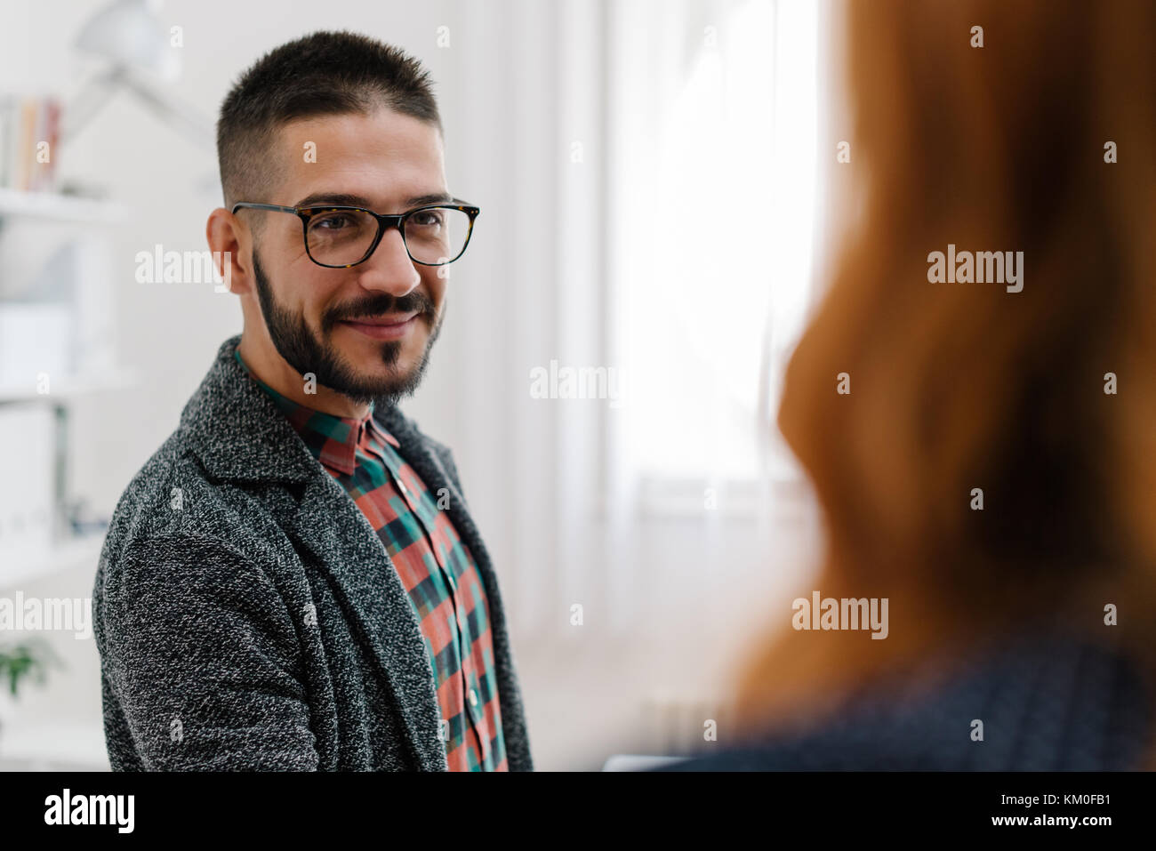 Young businessman hiring - Stock Image