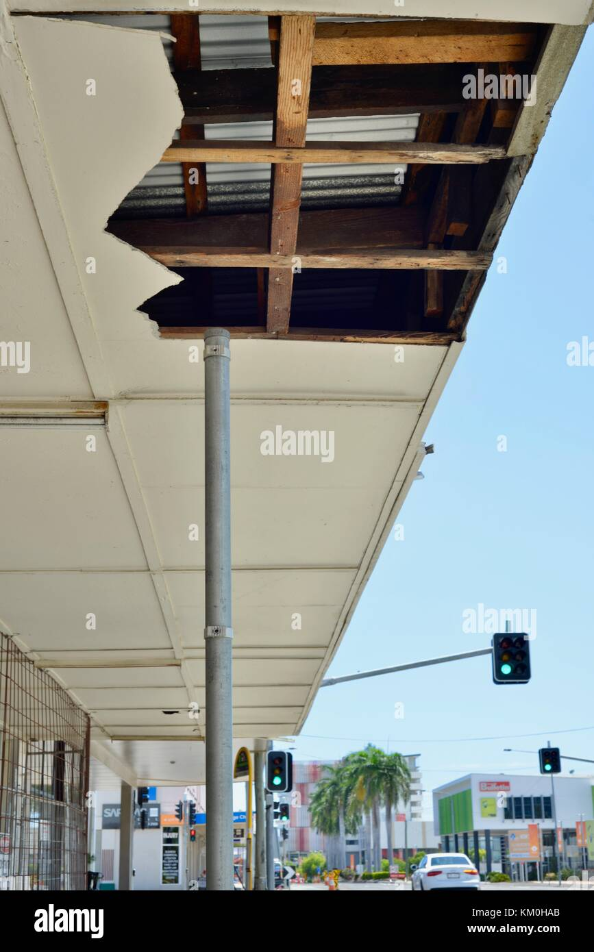 Asbestos roofing sheets broken and dangerous in the streets of Townsville city, a common sight, Townsville, Queensland, - Stock Image