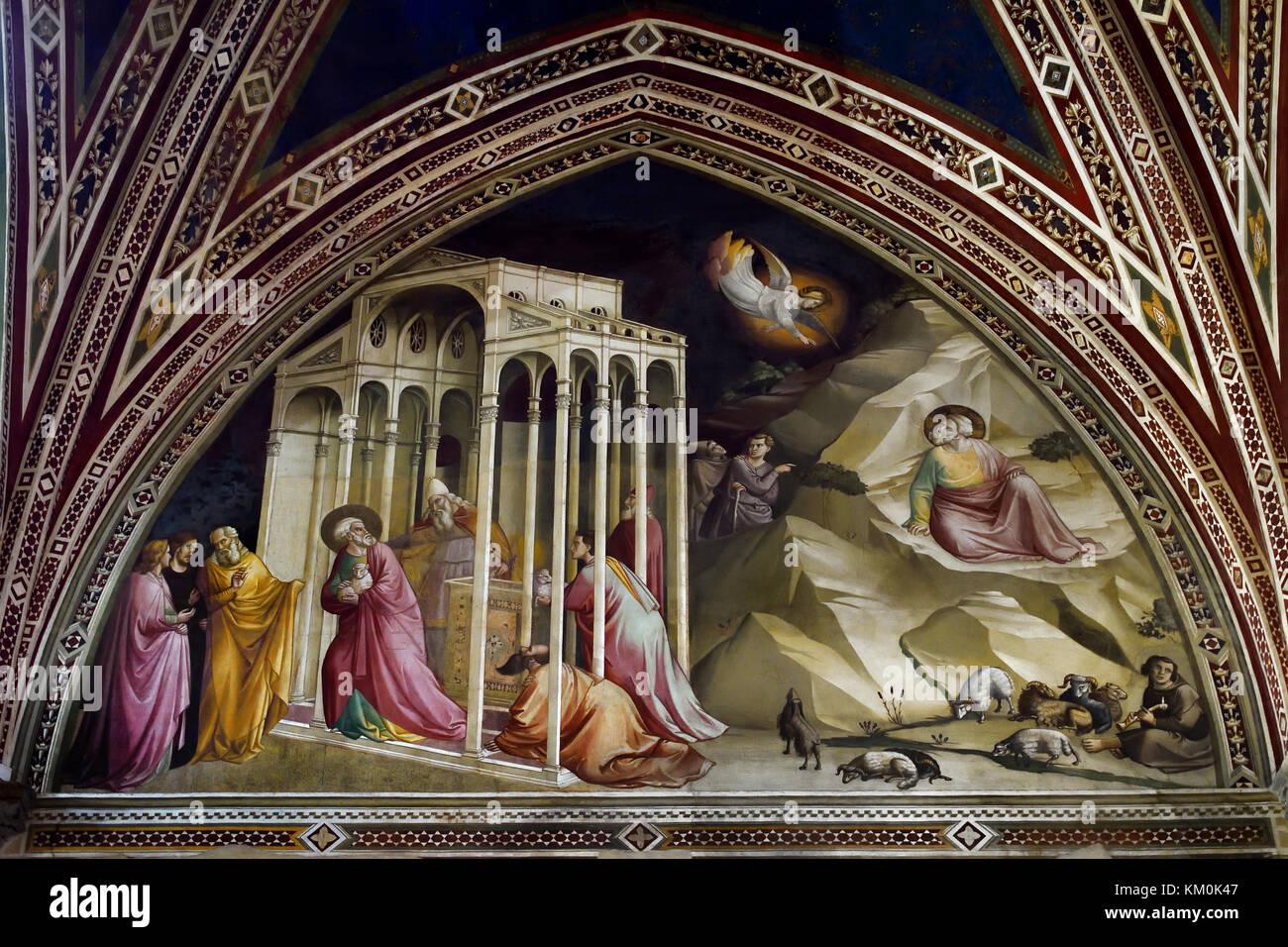 Expulsion of Joachim from the Temple c. 1330 Fresco Cappella Baroncelli, Santa Croce, Florence Museo dell'Opera - Stock Image