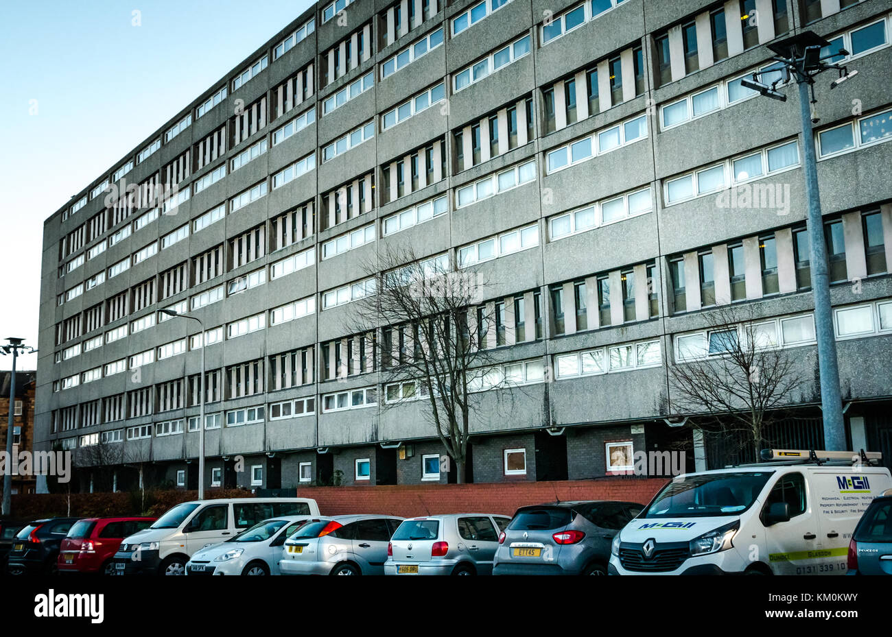 Category A listed Cables Wynd social housing Council block of flats, known as Banana flats, Leith, Edinburgh, Scotland, Stock Photo