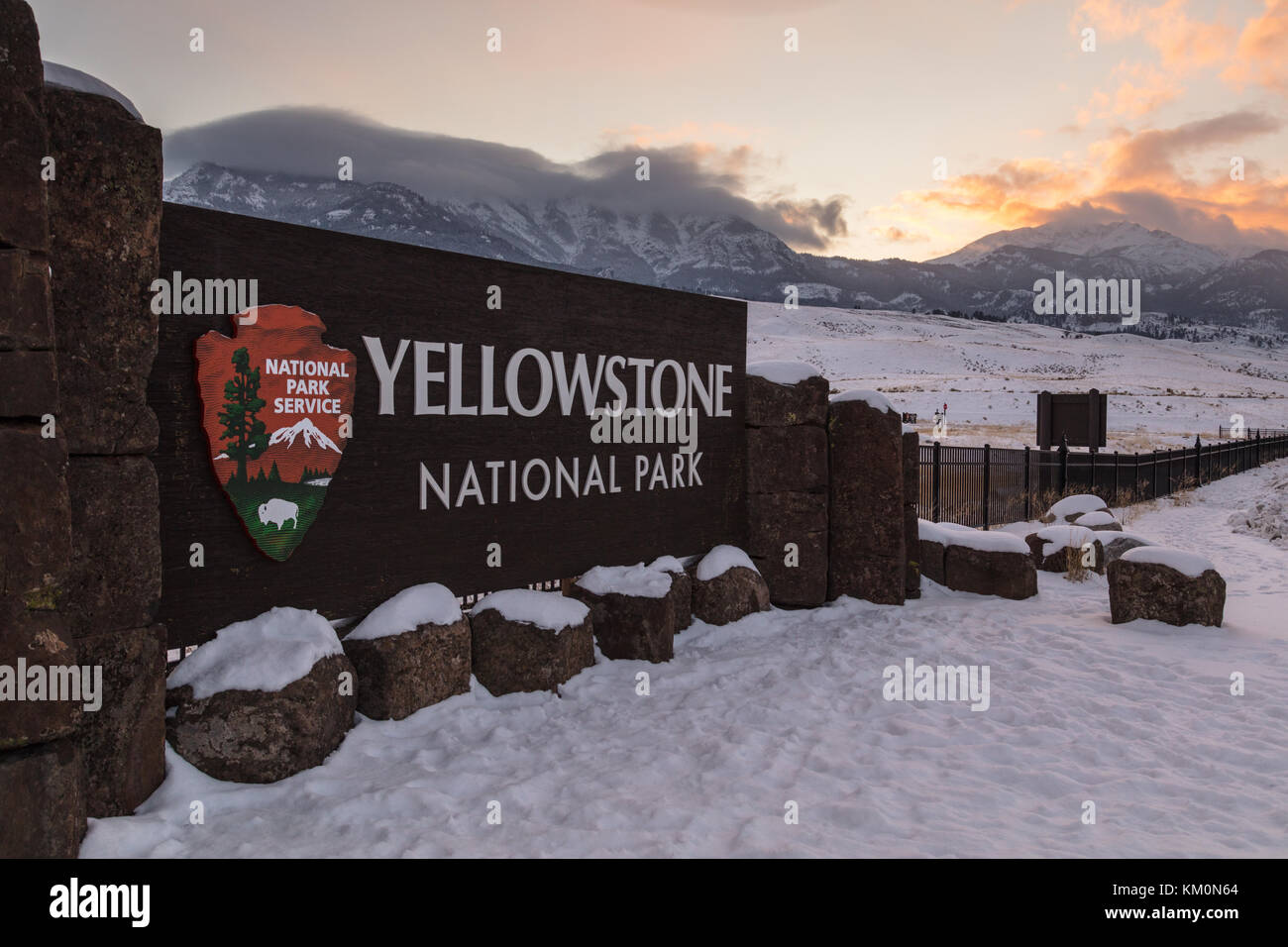 The Sun Sets Behind The Yellowstone National Park North
