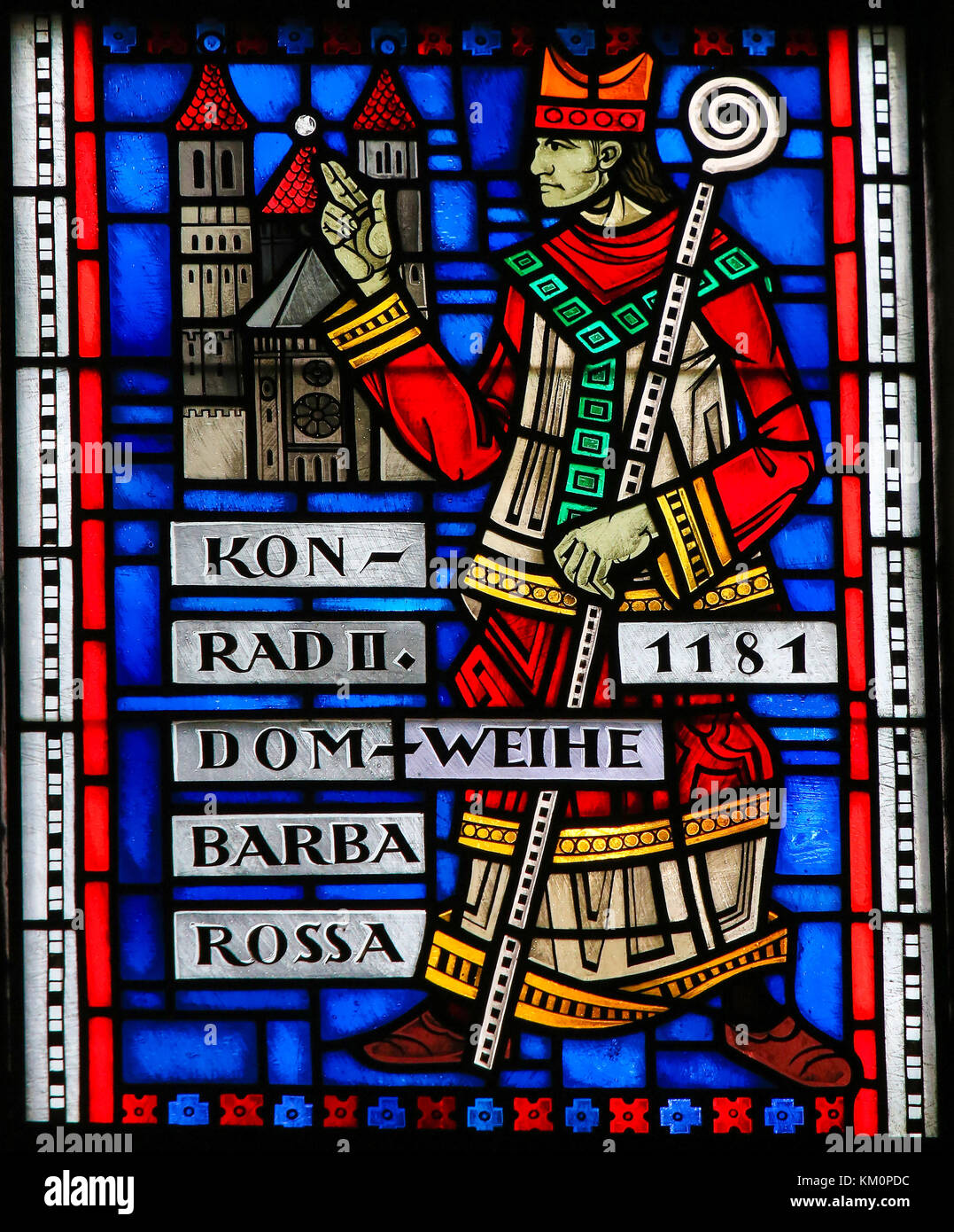 Stained Glass in Wormser Dom in Worms, Germany, depicting Konrad II von Sternberg, the Bishop who ordered the Construction - Stock Image