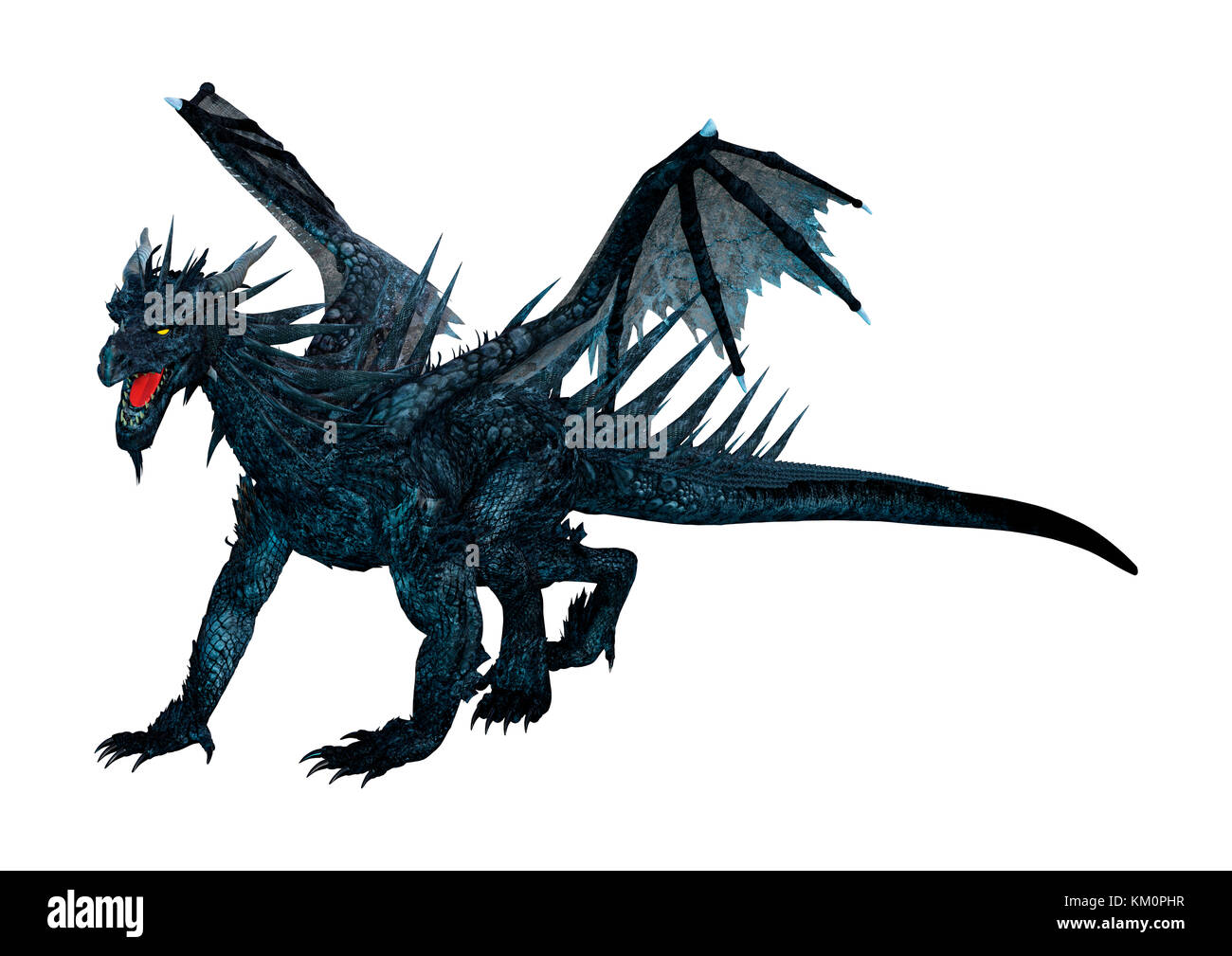 a91cac54f 3D rendering of a black dragon isolated on white background Stock ...