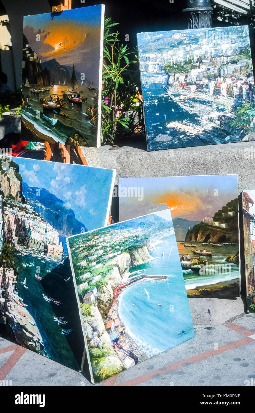 Painting on display by street artist in Positano Italy. - Stock Image