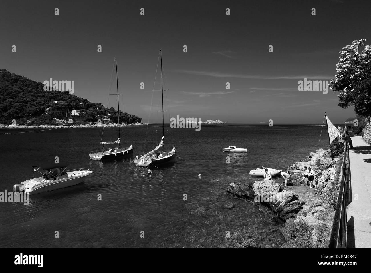 Summer view over Lapad Bay beach, Lapad town, Dubrovnik, Dalmatian coast, Adriatic Sea, Croatia, Europe. - Stock Image