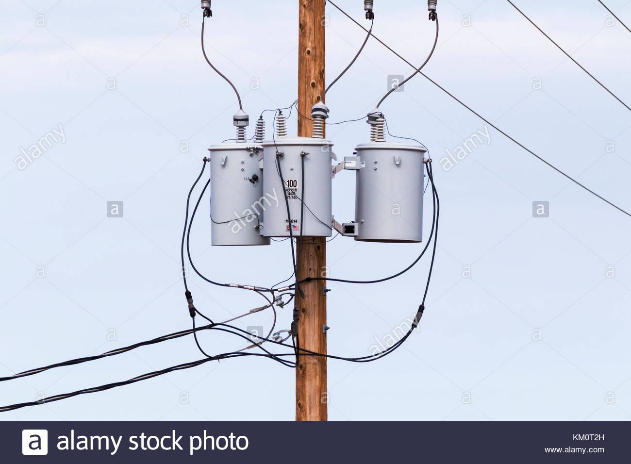 Electric Power Pole Transformer Stock Photos Electrical Wiring Residential Usa Three Phase Transformers On In Arizona Image