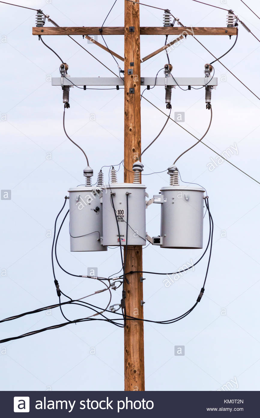 three phase power transformers on pole in arizona usa stock photo rh alamy com Single Phase Transformer Wiring Diagram Single Phase Transformer Wiring Diagram