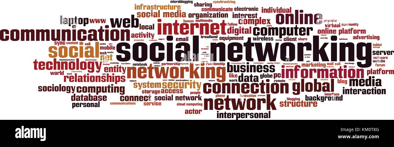Social networking word cloud concept. Vector illustration - Stock Image