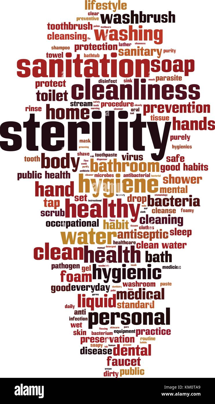Sterility word cloud concept. Vector illustration - Stock Image