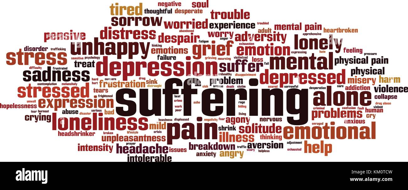 Suffering Word Cloud Concept Pain Stock Photos & Suffering