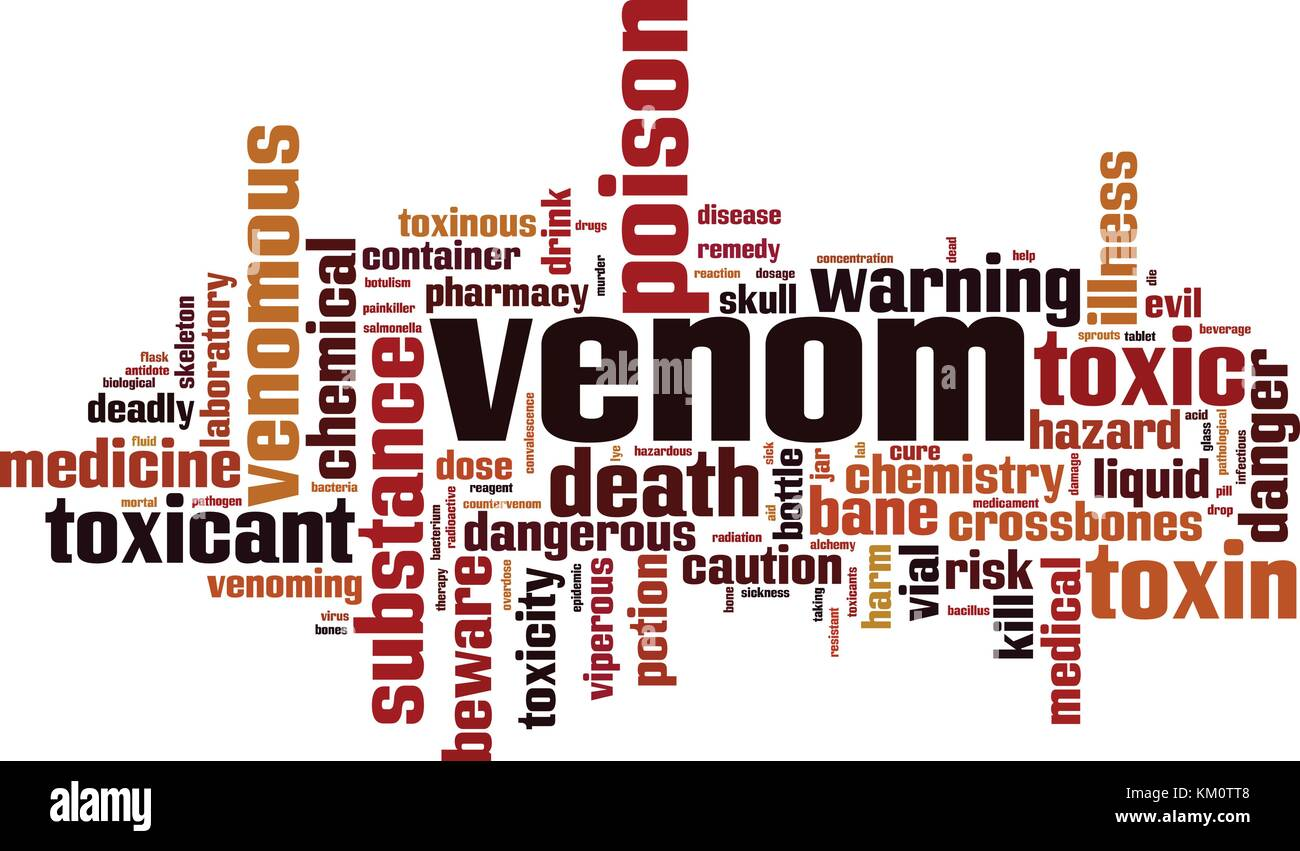 Venom word cloud concept. Vector illustration - Stock Image