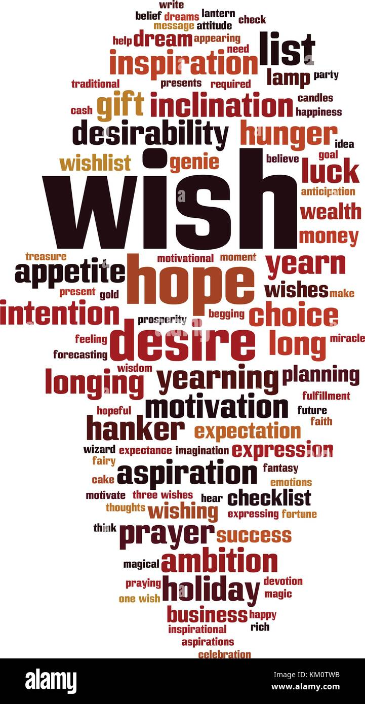 Wish word cloud concept. Vector illustration - Stock Image