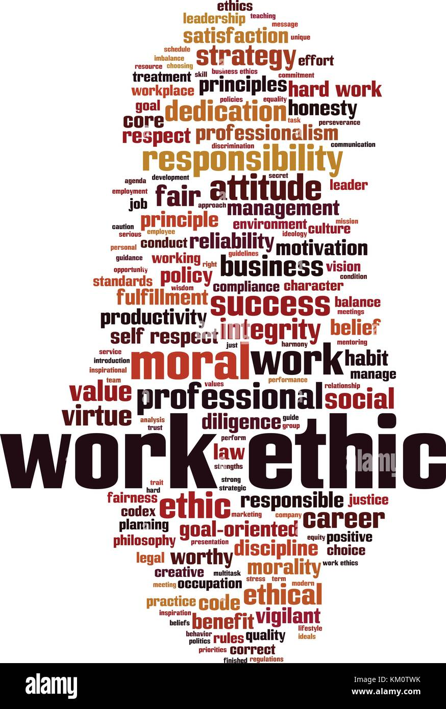 Work ethics word cloud concept. Vector illustration - Stock Image