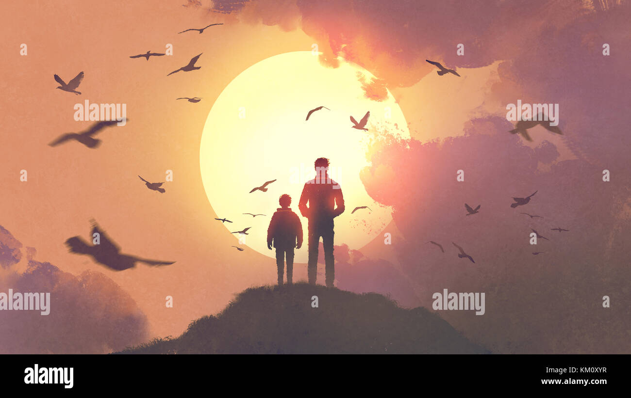 silhouette of father and son standing on the mountain looking at the sun rising in the sky, digital art style, illustration - Stock Image