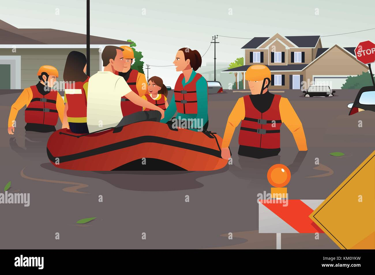 A vector illustration of rescue team helping people by pushing a boat through a flooded road - Stock Vector