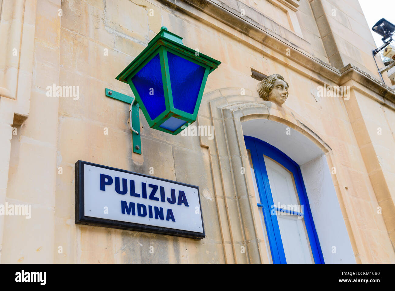 Police (pulizija) station and blue police light in the Walled City of Mdina, Malta - Stock Image