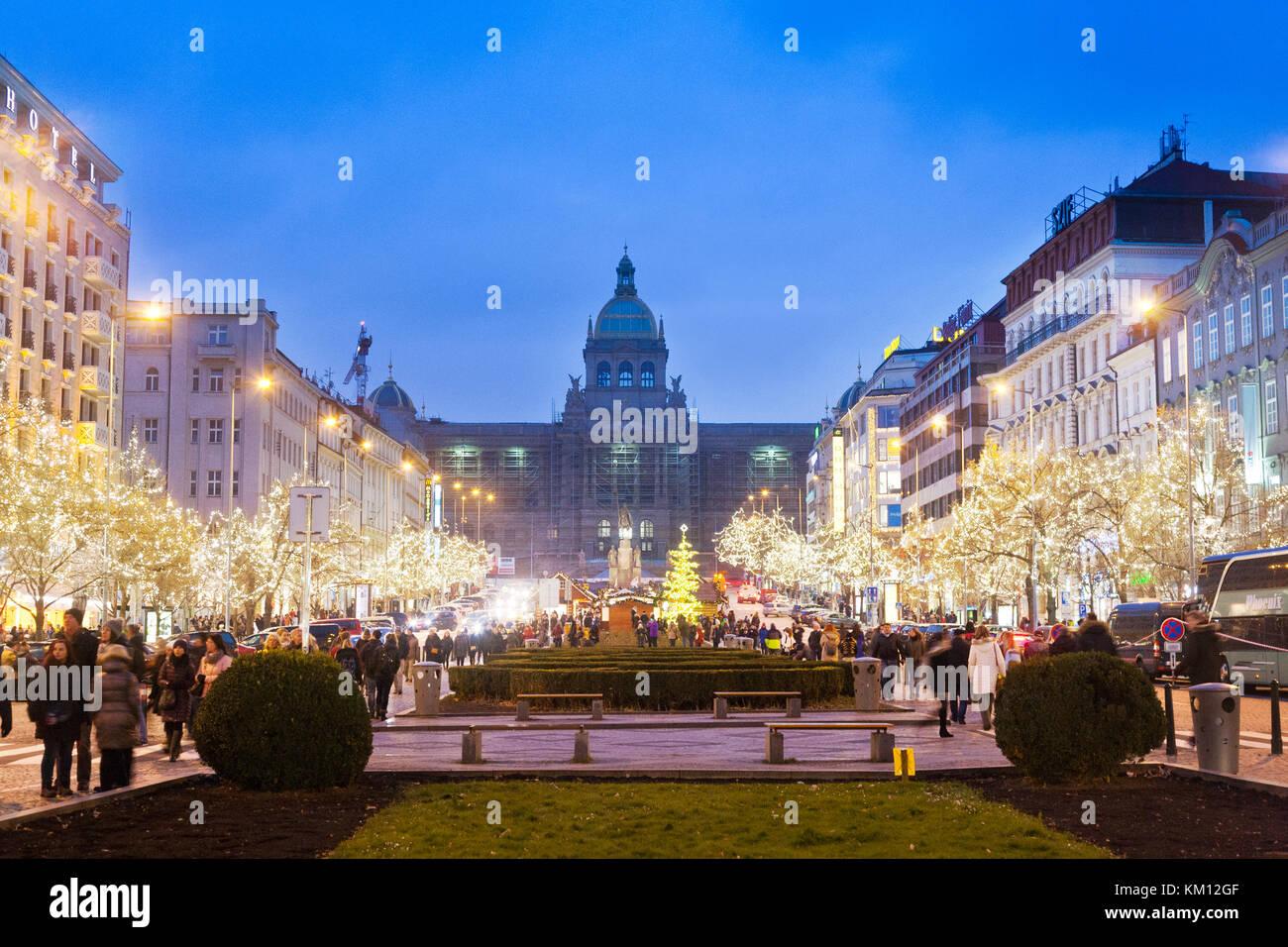 famous christmas market, National museum, Wenceslas square, Old Town, Prague, Czech Republic - Stock Image