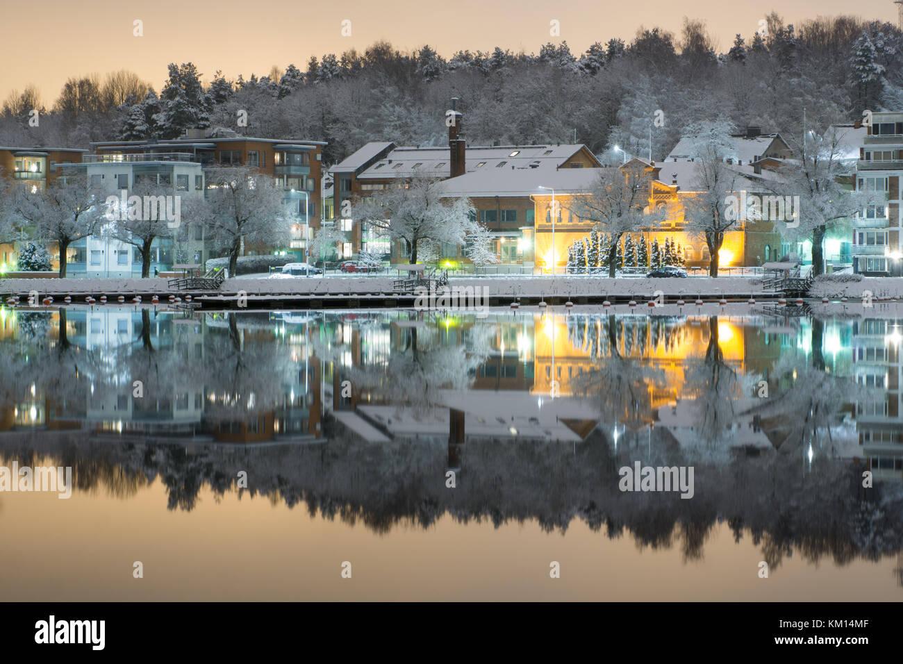 Reflection of the lake Saimaa in Lappeenranta - Stock Image