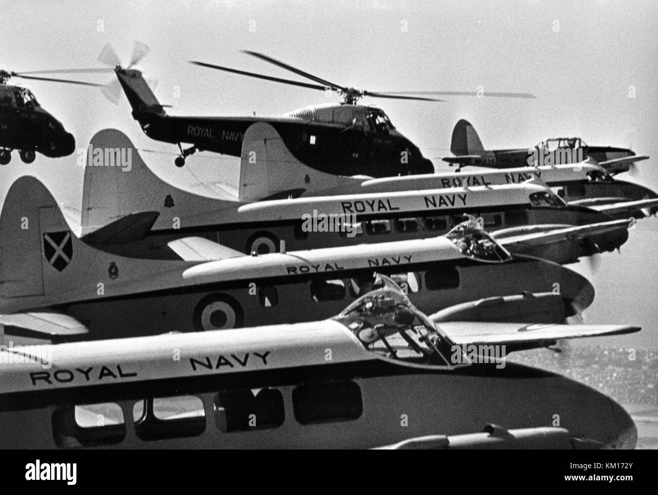 AJAXNETPHOTO. 1974. ISLE OF WIGHT, ENGLAND. - GREY SPARROWS - (FRONT TO REAR) DEVONS, HERONS, CHIPMUNK T-10 AND - Stock Image