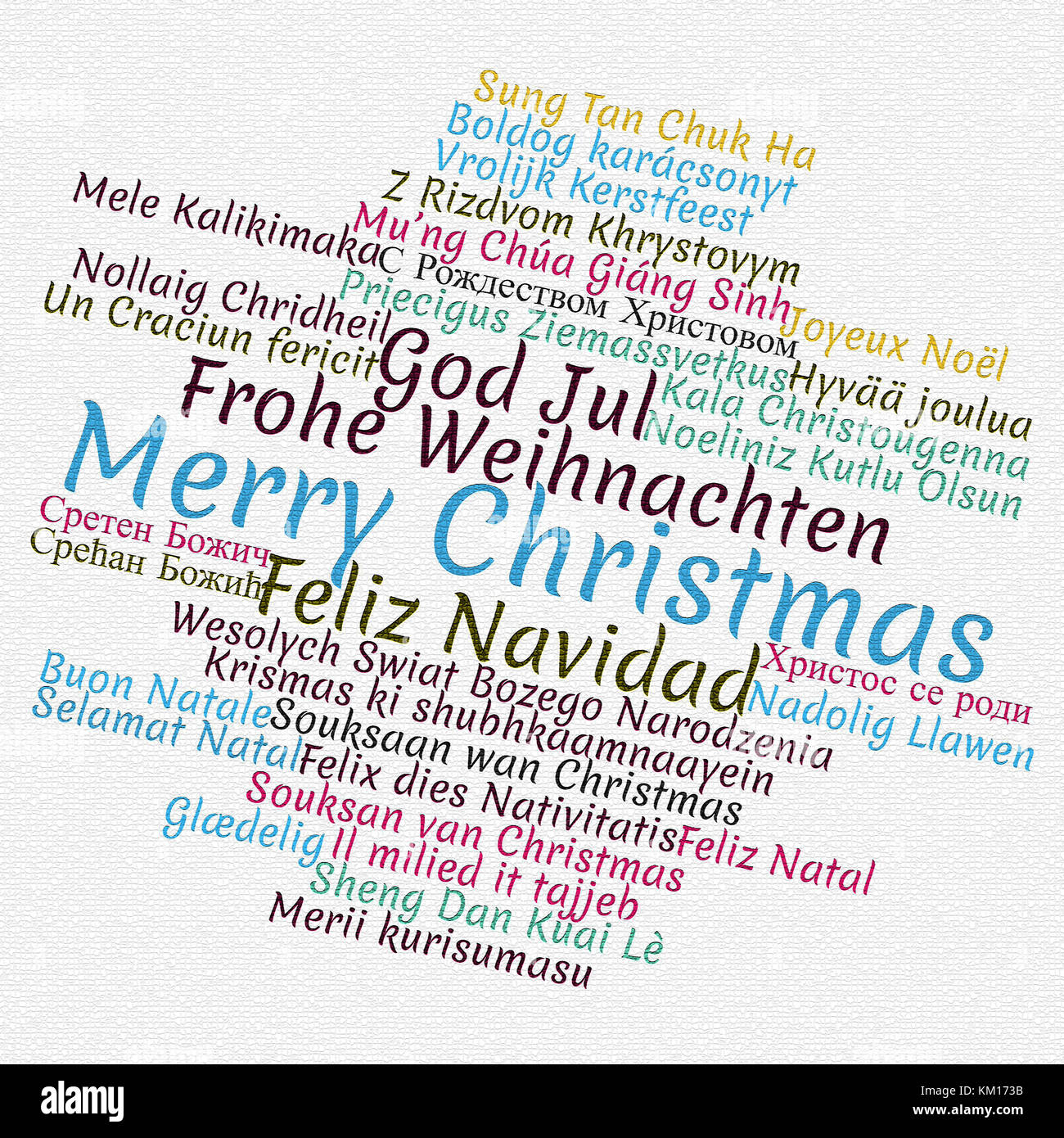 merry christmas in different languages in word cloud concept stock image