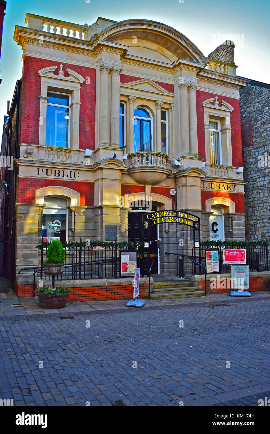 Carnegie House, Bridgend. Built in 1907 as a library with a substantial donation of £2000 from Andrew Carnegie - Stock Image