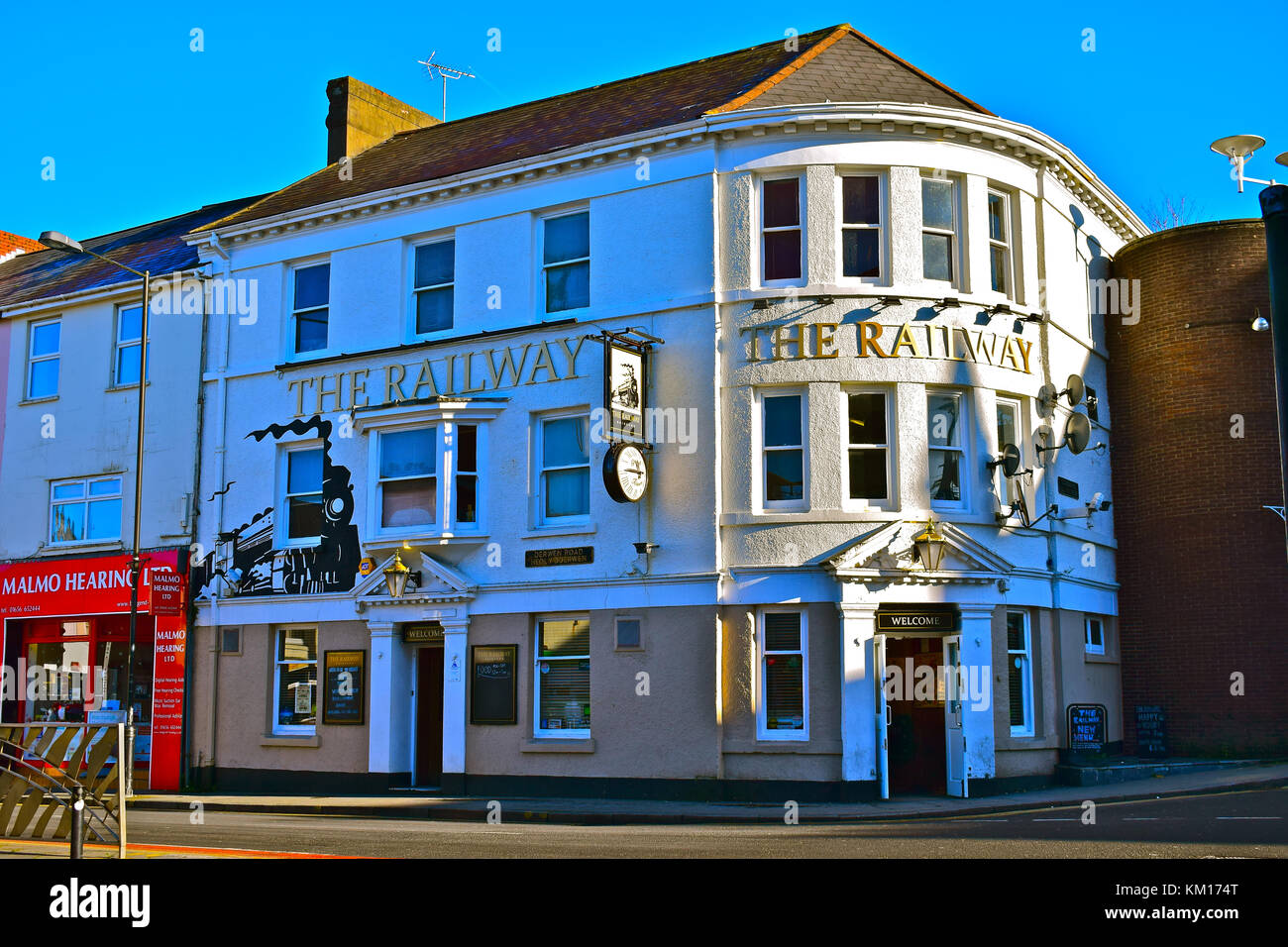 The Railway, Inn/Public house close to Bridgend town centre has been established for many years and now attracts - Stock Image