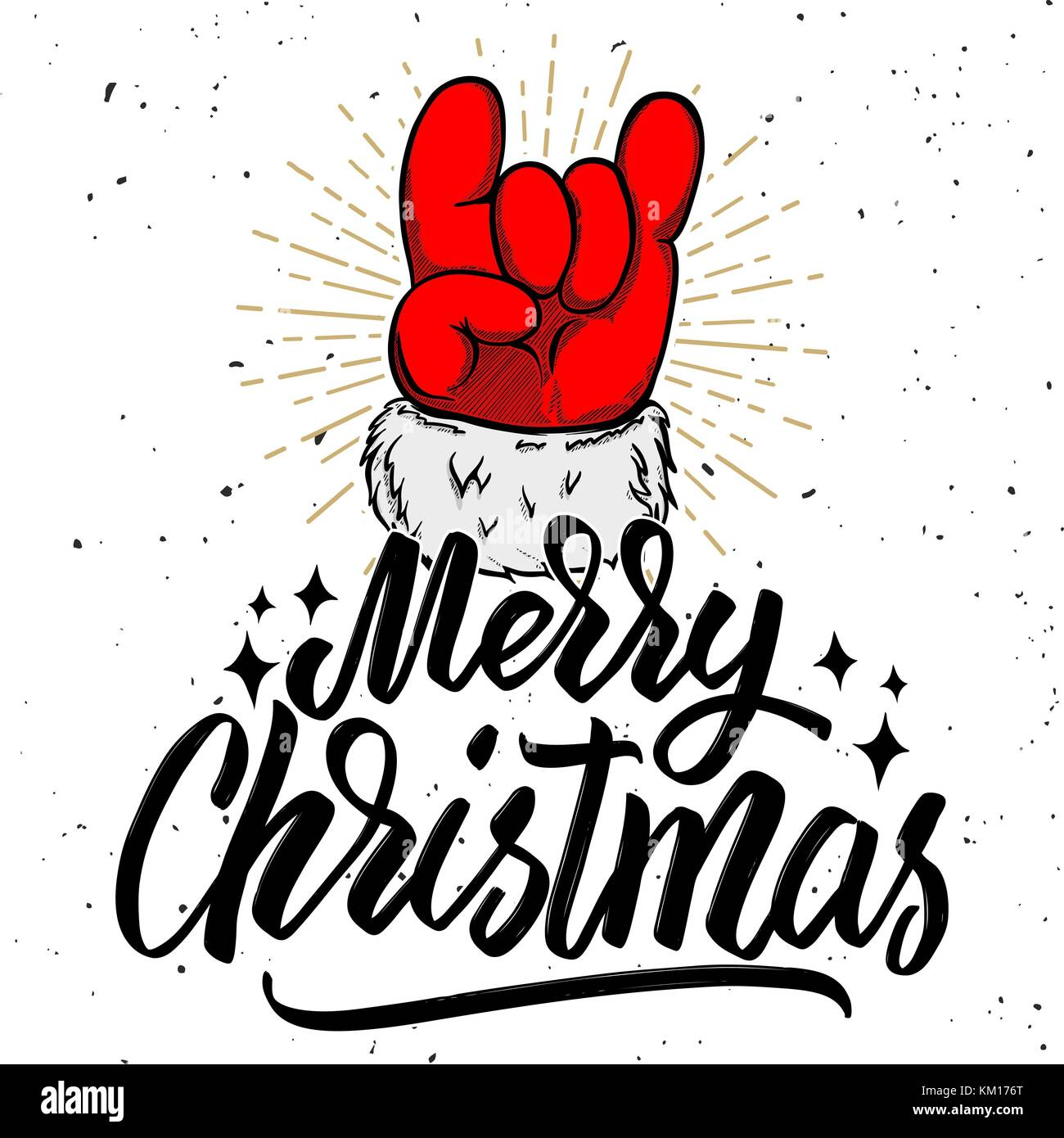 Christmas Rock.Merry Christmas Santa Claus Hand With Rock And Roll Sign