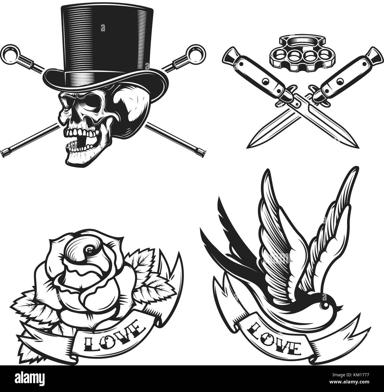 Old School Tattoo Emblems Swallow Bird Skull In Hat Rose Flower