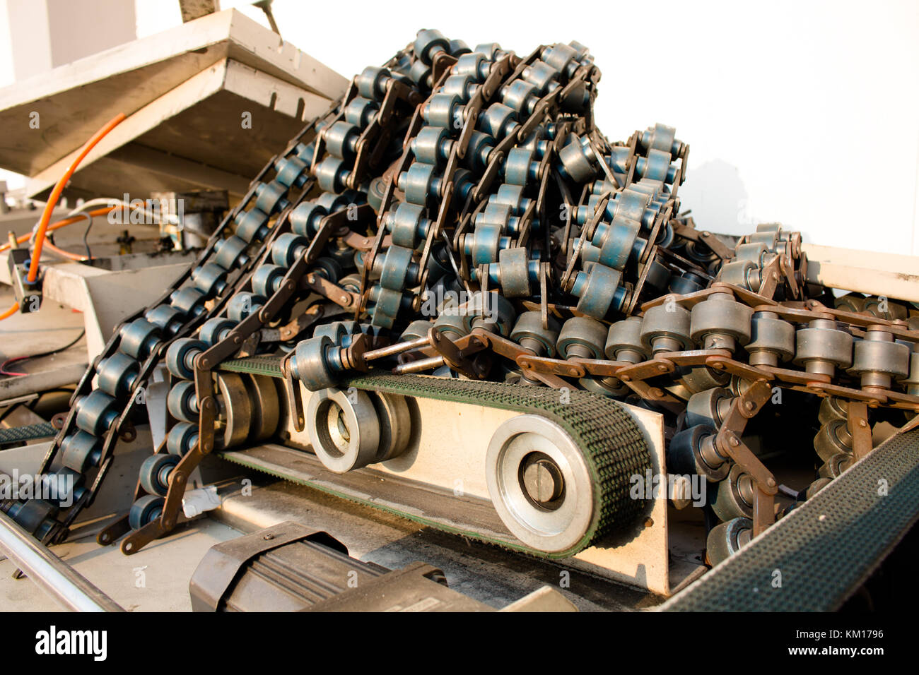 Line Conveyor old Industrial Or manufacturing industry - Stock Image