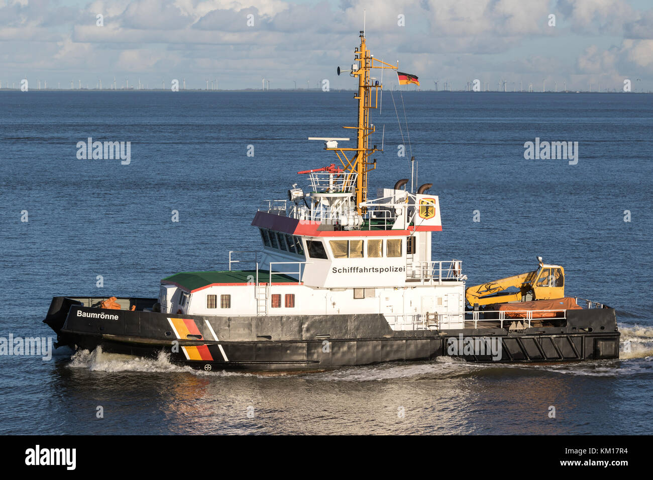 buoy tender BAUMRONNE on the river Elbe - Stock Image