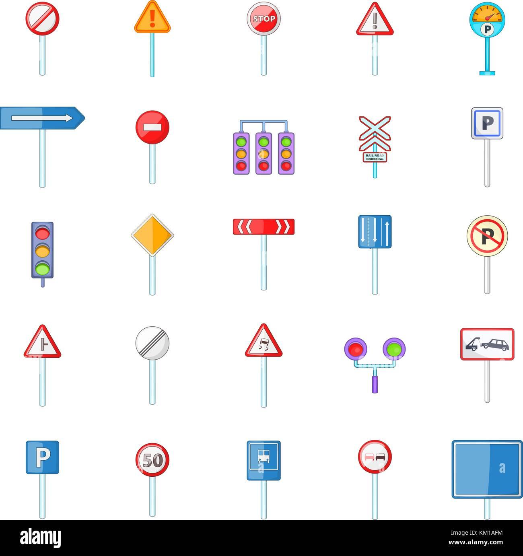 Road sings icon set, cartoon style - Stock Vector