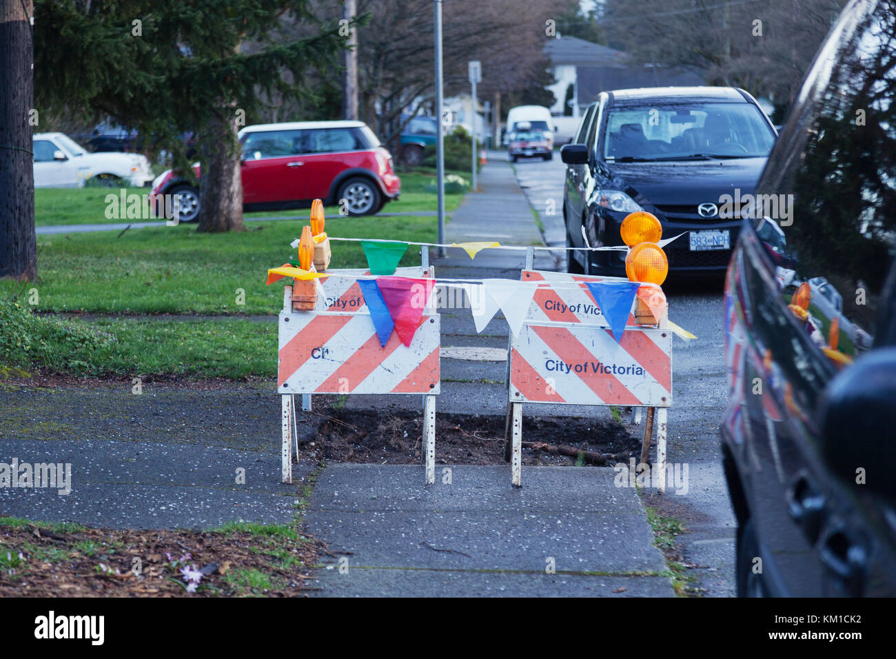 residential construction work barricade.  Victoria BC Canada - Stock Image