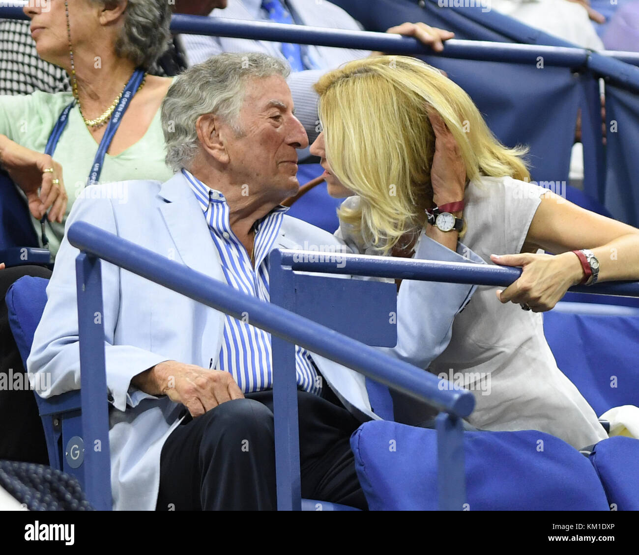 NEW YORK, NY - SEPTEMBER 07: Tony Bennett, Susan Crow on Day Ten of the 2016 US Open at the USTA Billie Jean King - Stock Image